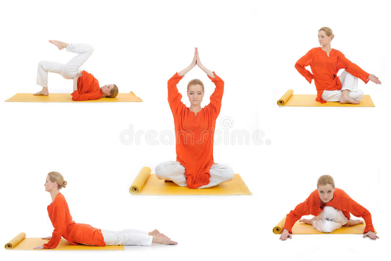De yogafoto van de collage. vrouw die yogaoefeningen doet stock afbeelding