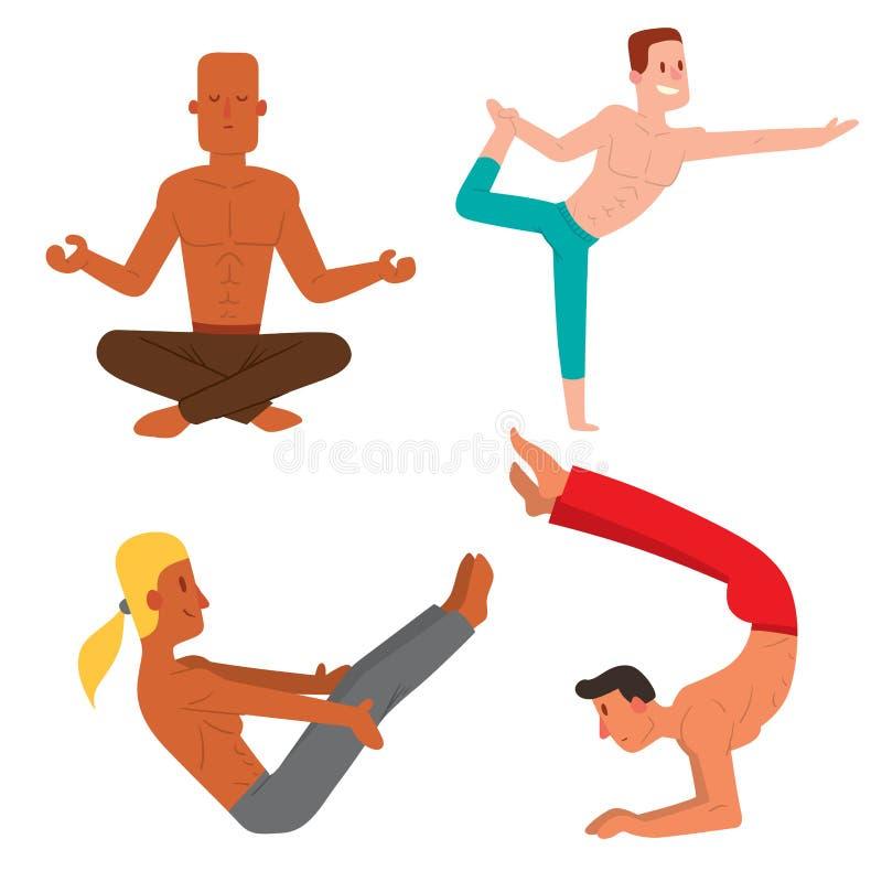 De yogaposities bemant van de de illustratiemeditatie van de karaktersklasse vector van de de concentratie menselijke vrede manne stock illustratie