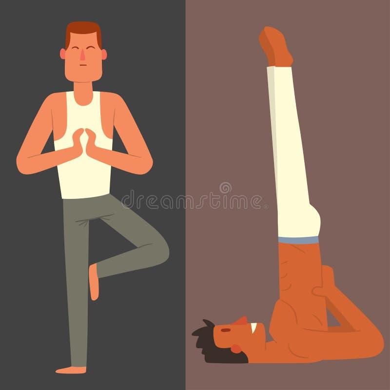 De yogaposities bemant van de de kaartillustratie van de karaktersklasse de vector van de de meditatie mannelijke concentratie le vector illustratie