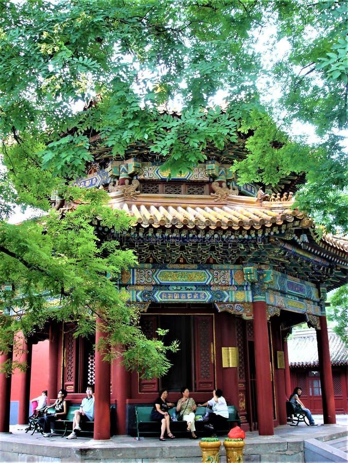 De Yonghe-Tempel in de stad van Peking, China Tibetaans Boeddhisme, geschiedenis en verering royalty-vrije stock foto's