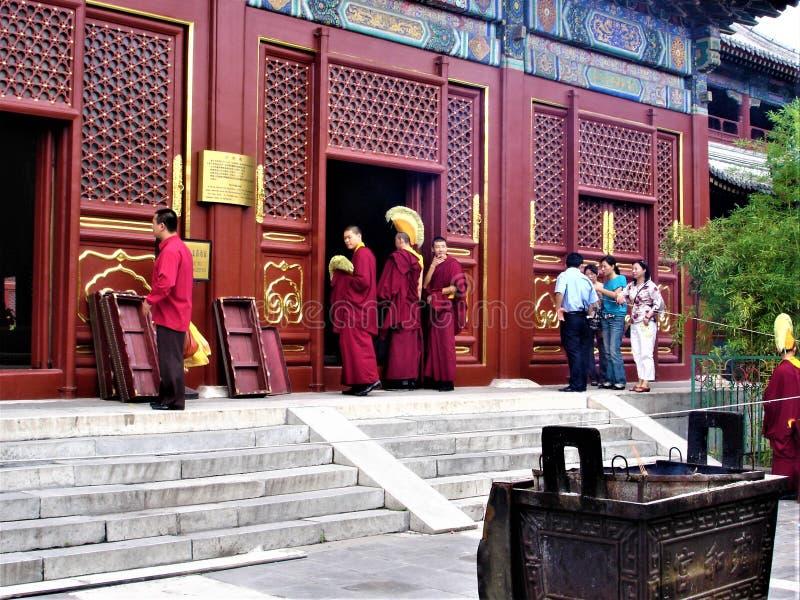 De Yonghe-Tempel in de stad van Peking, China Tibetaans Boeddhisme, monniken en geschiedenis stock foto's