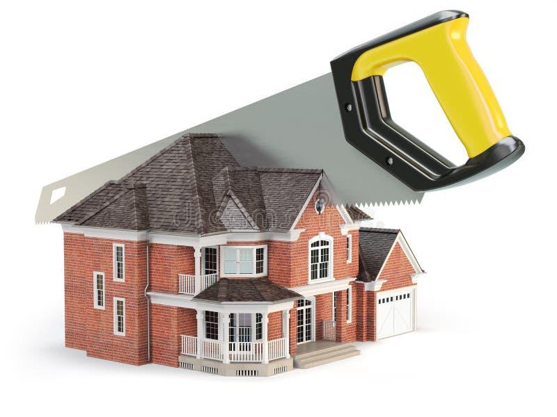 De zaag verdeelt een huis op witte achtergrond wordt geïsoleerd die scheiding vector illustratie