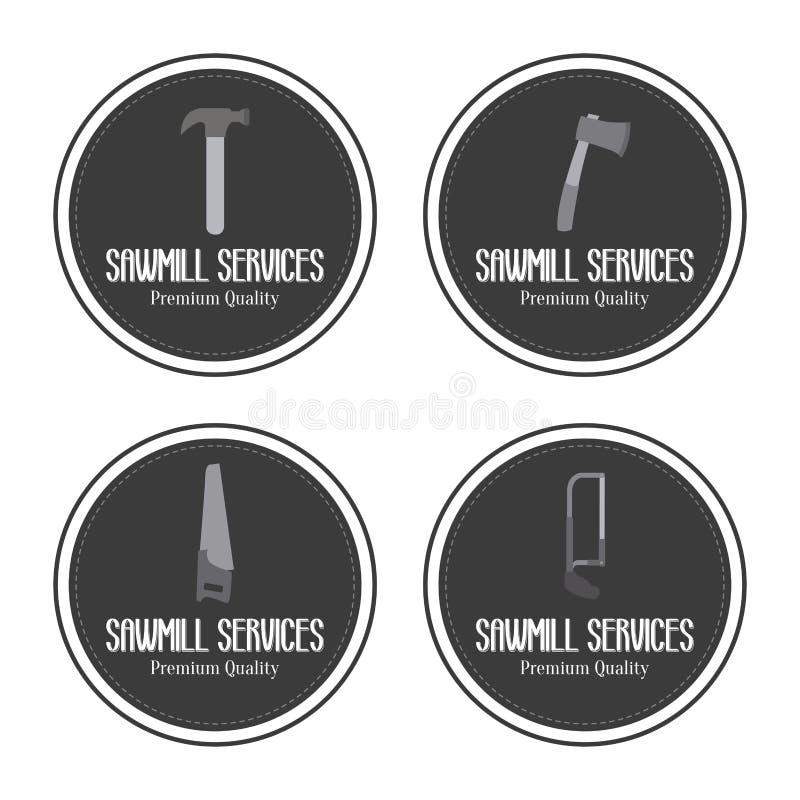 De zaagmolen etiketteert voorwerpen vector illustratie