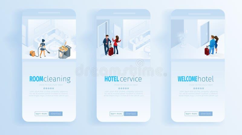 De Zaal die van de hoteldiensten Welkome Sociale Media schoonmaken stock illustratie