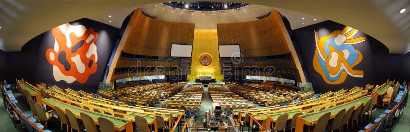 De Zaal van de Algemene Vergadering van de Verenigde Naties stock fotografie