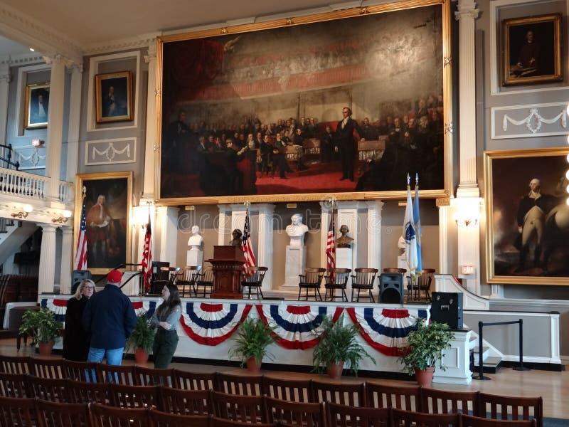 De Zaal van Faneuil, Boston stock foto