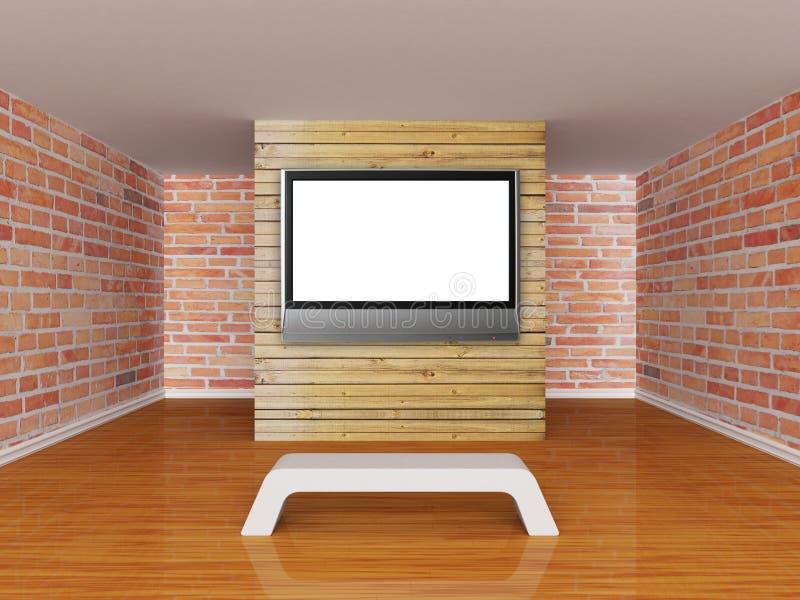 De zaal van het album met lcd TV vector illustratie