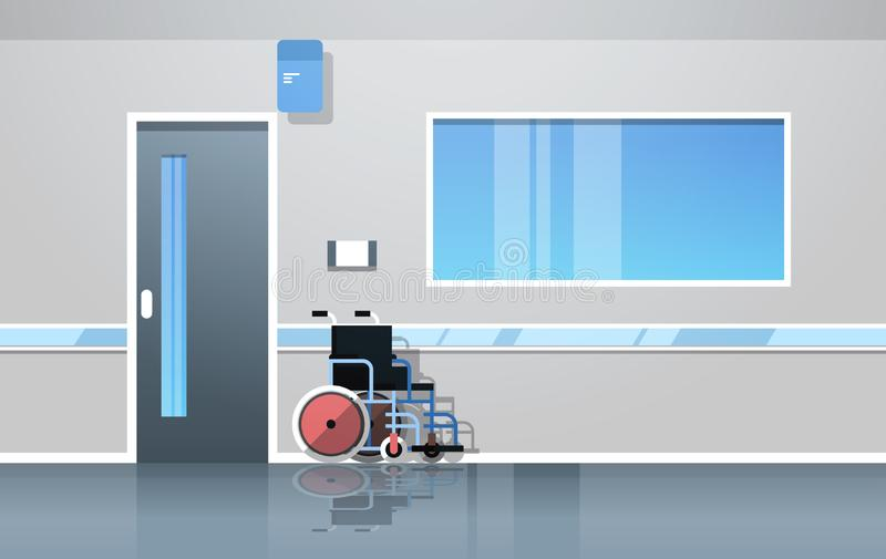 De zaal van de het ziekenhuisgang met lege rolstoelmedische apparatuur geen binnenlandse vlakke horizontaal van de mensenkliniek royalty-vrije illustratie