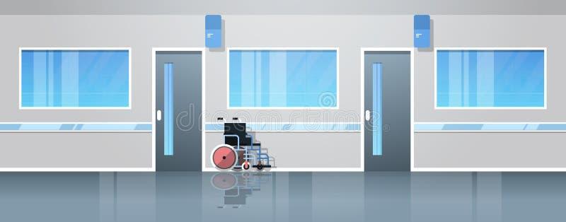 De zaal van de het ziekenhuisgang met lege rolstoelmedische apparatuur geen binnenlandse vlakke horizontale banner van de mensenk stock illustratie