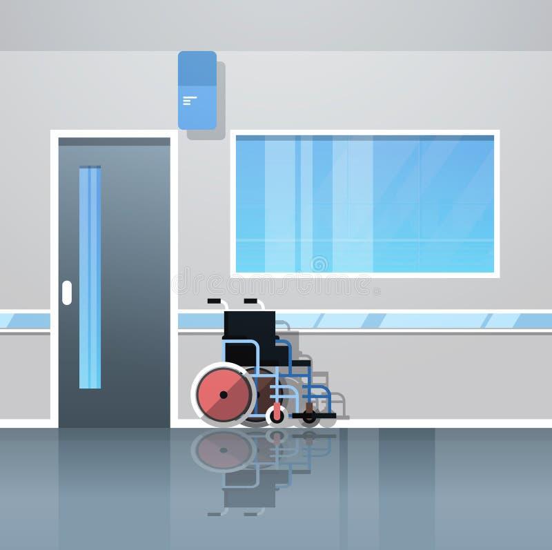 De zaal van de het ziekenhuisgang met lege rolstoelmedische apparatuur geen binnenlandse vlakte van de mensenkliniek royalty-vrije illustratie