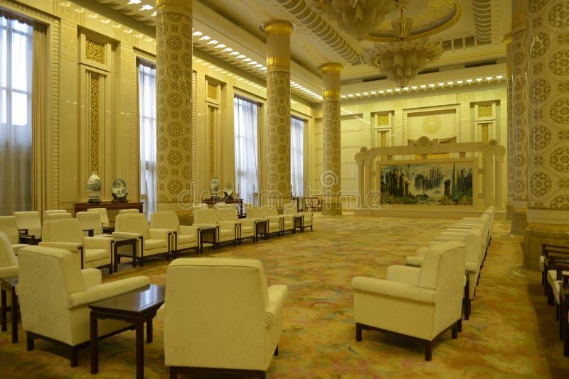 De Zaal van Hunan in de Grote zaal van de mensen in Peking, China stock afbeeldingen