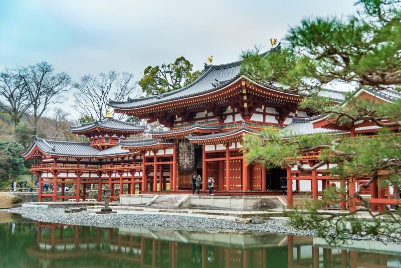 De Zaal van Phoenix overdenkt water, byodo-in Tempel in Kyoto, Jap stock afbeeldingen