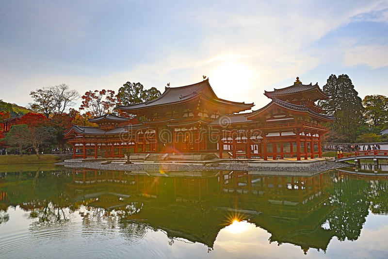 De Zaal van Phoenix van byodo-in Tempel in Kyoto, Japan stock foto's