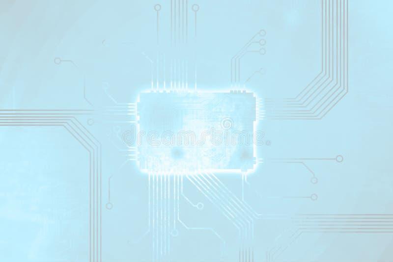 De zachte blauwe gekleurde kern van de digitale computerspaander royalty-vrije illustratie