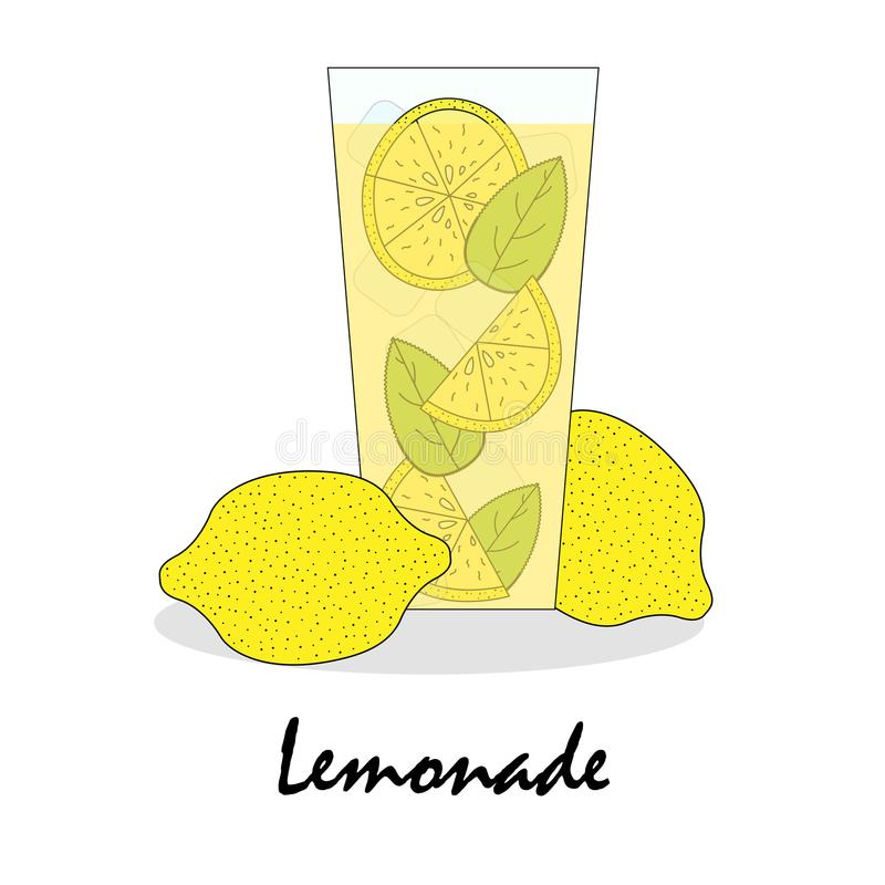 De zachte getrokken illustratie van een glas met limonade royalty-vrije illustratie