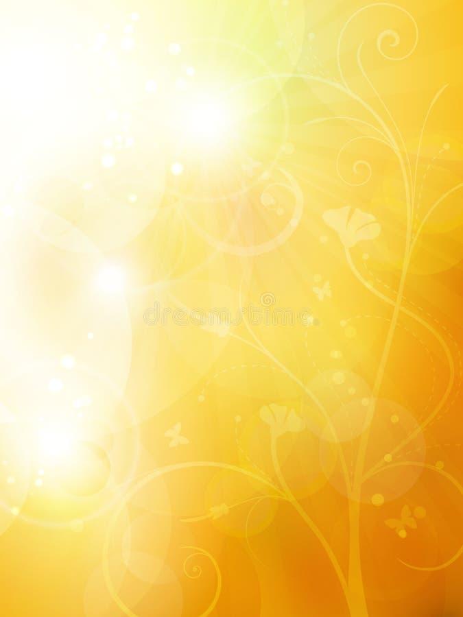 De zachte gouden, zonnige zomer of de herfstachtergrond royalty-vrije illustratie