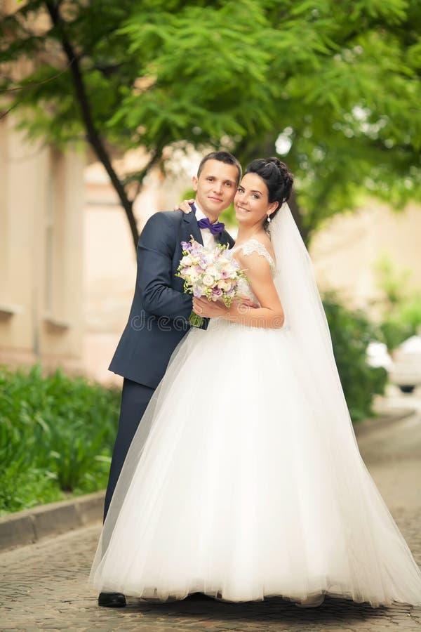 De zachte paarholding overhandigt elkaar op achtergrond lviv stock foto's