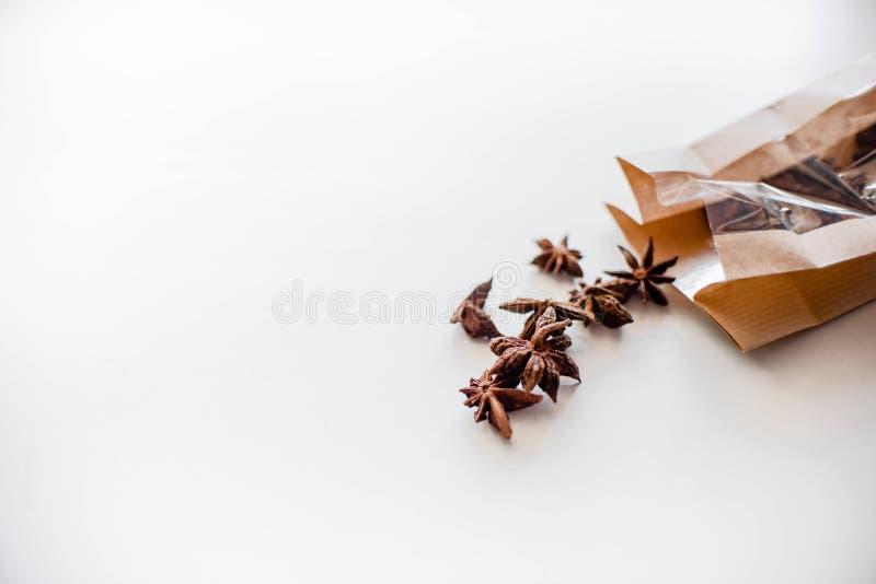 De zaden van de anijsplantboom op witte achtergrond stock afbeeldingen
