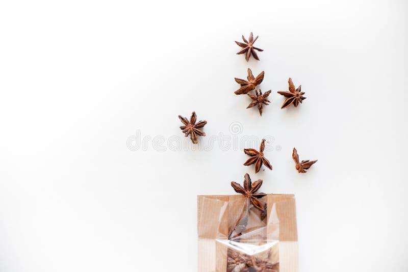 De zaden van de anijsplantboom op witte achtergrond royalty-vrije stock foto