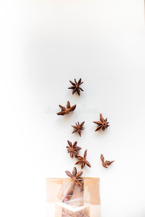 De zaden van de anijsplantboom op witte achtergrond en pakpapierzak royalty-vrije stock fotografie