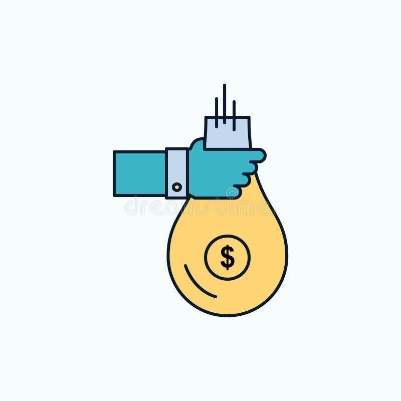 De zak, financiën, geeft, investering, geld, aanbiedt Vlak Pictogram groene en Gele teken en symbolen voor website en Mobiele app royalty-vrije illustratie