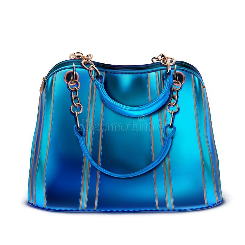 De zak van blauwe octrooi gestreepte vrouwen met handvatten op de kettingen vector illustratie