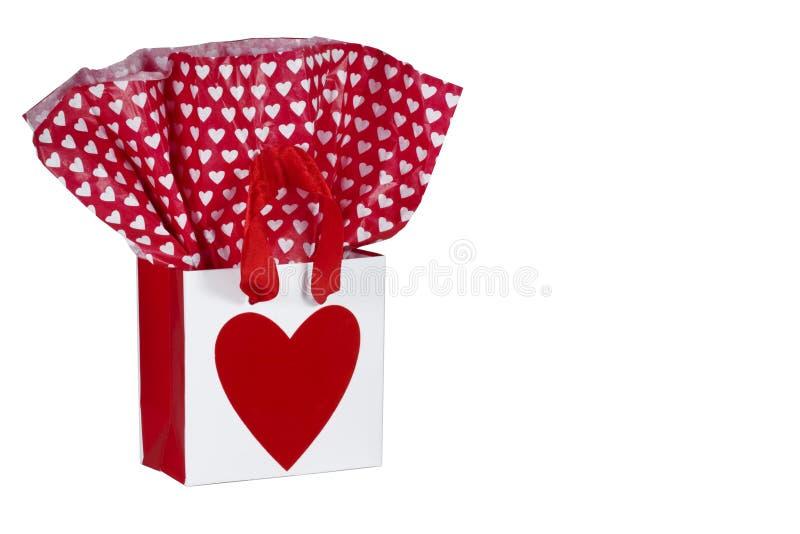 De Zak van de Gift van het Hart van de valentijnskaart stock afbeeldingen