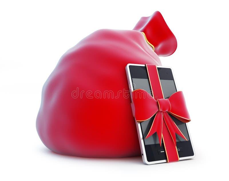 De zak van de kerstman, giftsmartphone vector illustratie