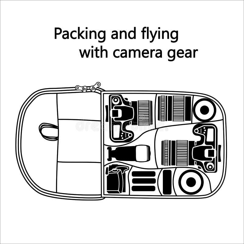 De zak van de fotocamera met de hoogste mening van het cameratoestel Vector royalty-vrije illustratie