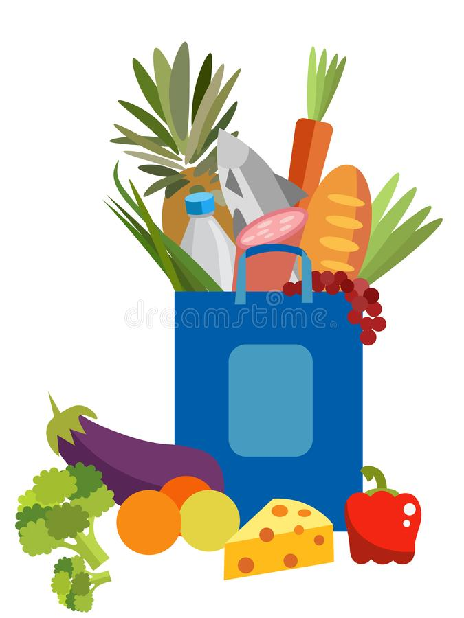 De zak van het document met voedsel In minimalistische stijl Vlakke isometrische vector vector illustratie