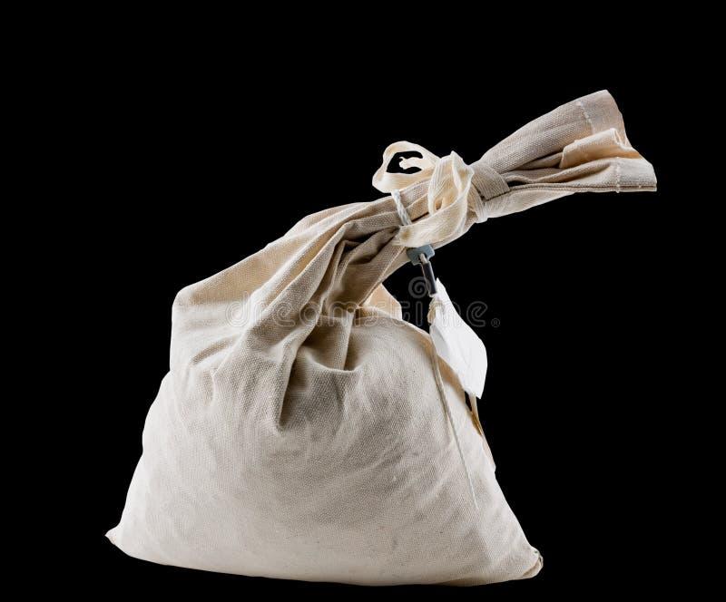 De zak van het doekgeld verbond bij hals en geïsoleerd royalty-vrije stock fotografie