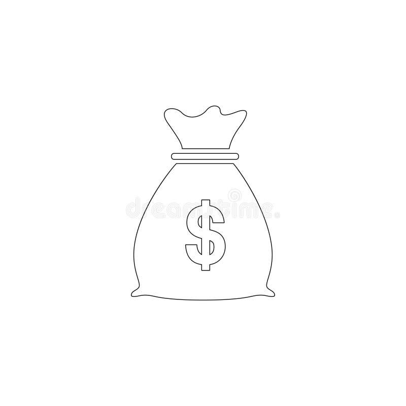 De zak van het geld Vlak vectorpictogram vector illustratie