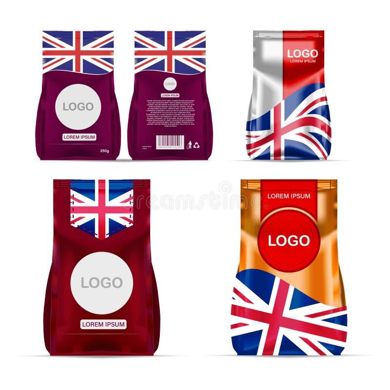 De zak van het de snacksachet van het folievoedsel de verpakking voor koffie, zout, suiker, peper, kruiden, sachet, snoepjes, spa vector illustratie