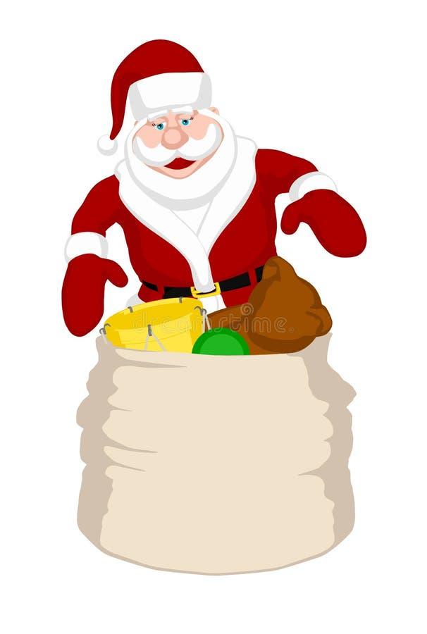 De Zak van het Stuk speelgoed van de kerstman royalty-vrije illustratie