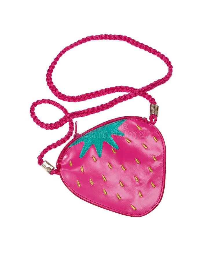 De zak van kinderen in de vorm van aardbeien. royalty-vrije stock afbeelding