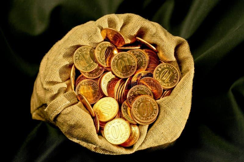 De zak van muntstukken royalty-vrije stock foto