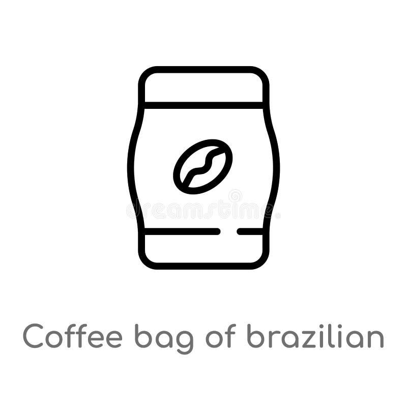 de zak van de overzichtskoffie van Braziliaans bonen vectorpictogram de ge?soleerde zwarte eenvoudige illustratie van het lijnele vector illustratie