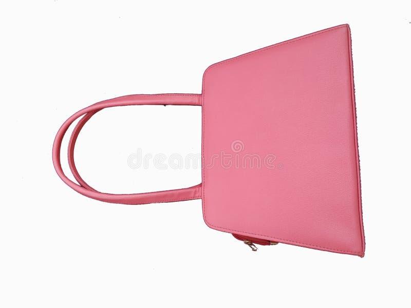 De zak van de roze vrouw die op witte achtergrond wordt geïsoleerd stock fotografie