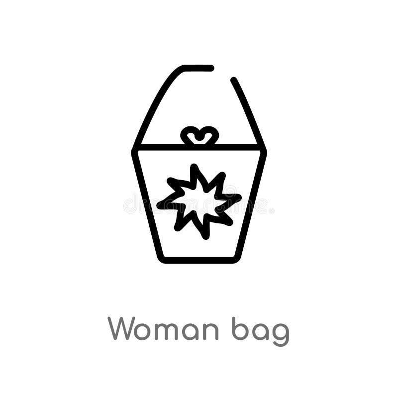 de zak vectorpictogram van de overzichtsvrouw de geïsoleerde zwarte eenvoudige illustratie van het lijnelement van manierconcept  stock illustratie