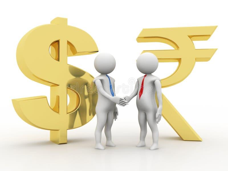 De zaken behandelen Dollar en Roepie op witte achtergrond 3d geef terug royalty-vrije illustratie