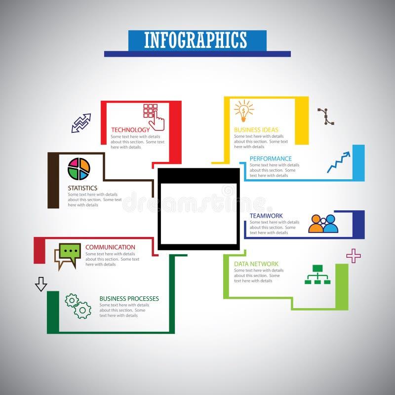 De zaken brachten de vlakke geplaatste met elkaar in verband pictogrammen van lijninfographics - concept vect stock illustratie