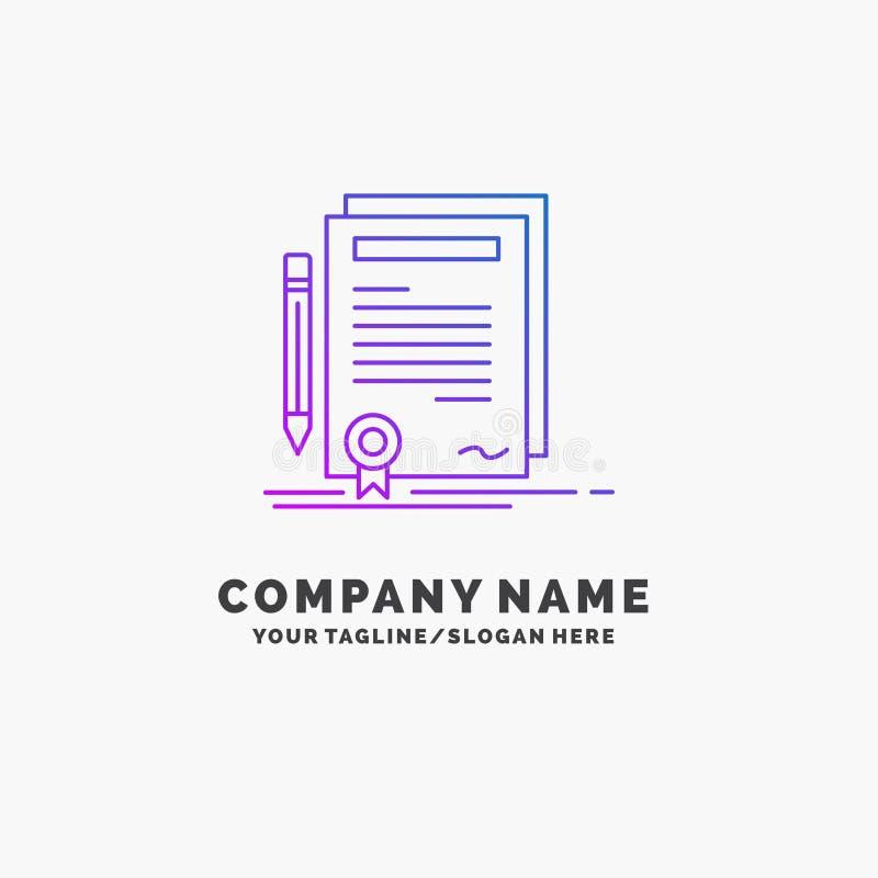 De zaken, certificaat, contract, graad, documenteren Purpere Zaken Logo Template Plaats voor Tagline vector illustratie