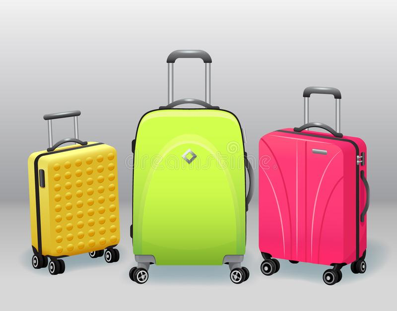 De zaken en de familievakantie reizen bagage met van de de punteninzameling van de handtasbagage de moderne en retro realistische vector illustratie