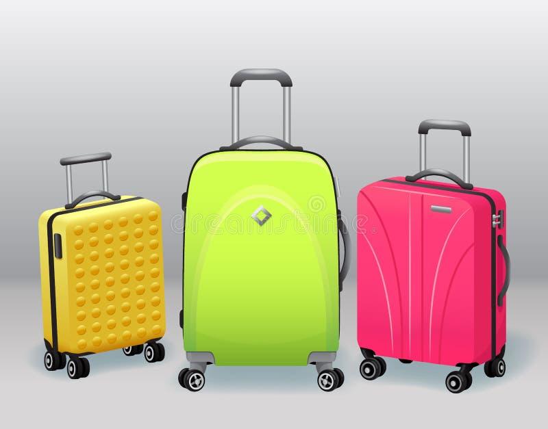De zaken en de familievakantie reizen bagage met van de de punteninzameling van de handtasbagage de moderne en retro realistische royalty-vrije illustratie