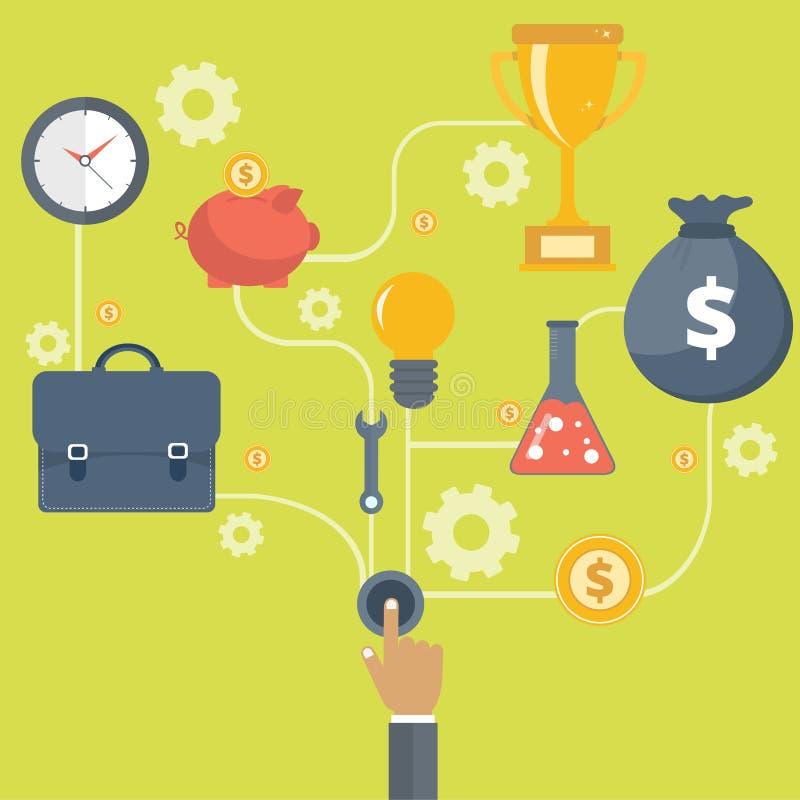 De zaken en de ondernemerschapszaken beginnen of lanceren met toestellen en radertjes met diverse pictogrammen voor de industrie  vector illustratie