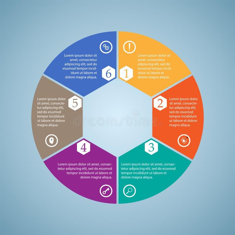 De zaken InfoGraphics, zes stukken omcirkelen diagram, zeshoek, stappresentatie, sectiebanner vector illustratie
