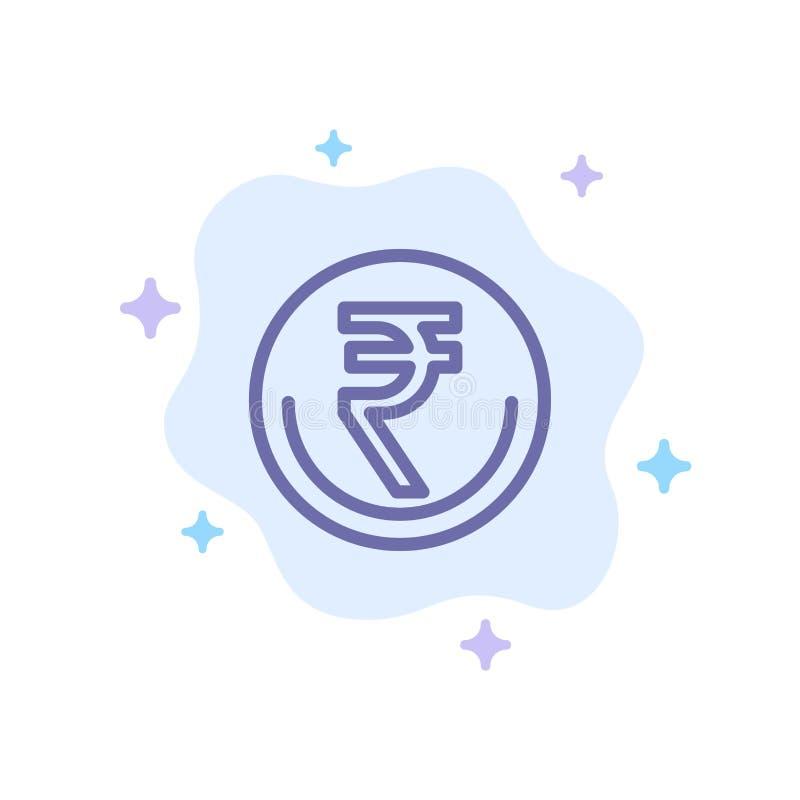 De zaken, Munt, Financiën, Indiër, Inr, Roepie, wisselen Blauw Pictogram op Abstracte Wolkenachtergrond uit stock illustratie