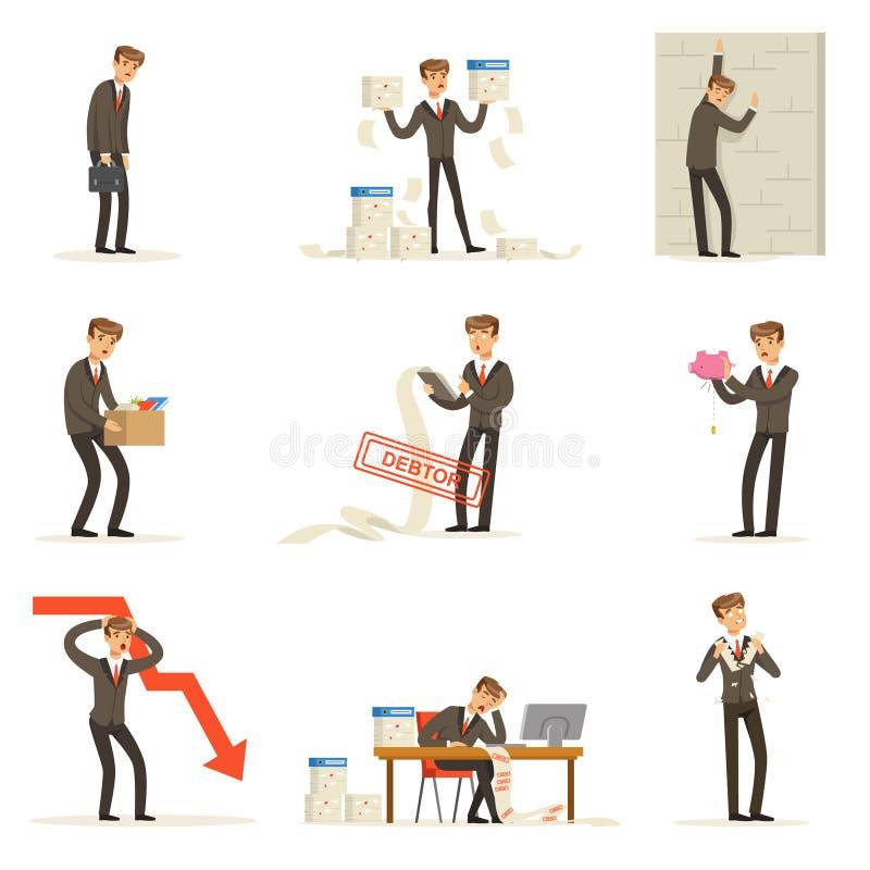 De zaken ontbreken en Manager Suffering Loss And die in Schuldreeks zijn Faillissement en Bedrijfmislukkings Vectorillustraties royalty-vrije illustratie