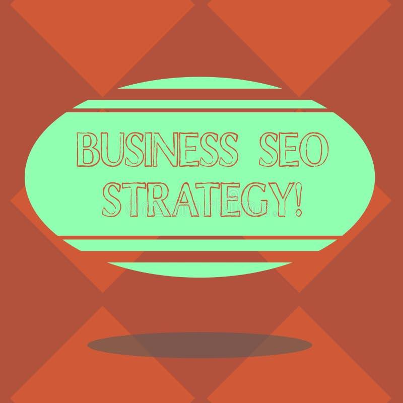 De Zaken Seo Strategy van de handschrifttekst Concept die Optimalisering van website betekenen om toe te nemen het aantal bezoeke royalty-vrije illustratie