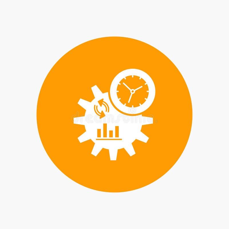 De zaken, techniek, beheer, verwerken Wit Glyph-Pictogram in Cirkel Vectorknoopillustratie vector illustratie